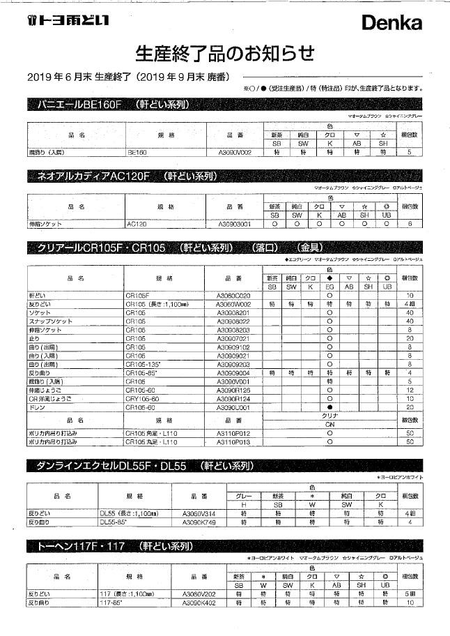 2019年6月末生産終了(2019年9月末廃番)のお知らせ1