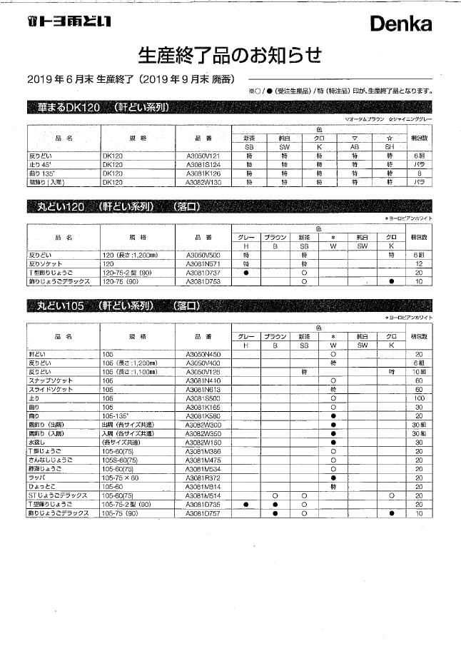 2019年6月末生産終了(2019年9月末廃番)のお知らせ2
